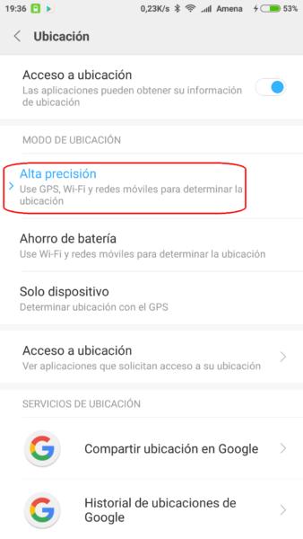 Activar alta precisión en GPS