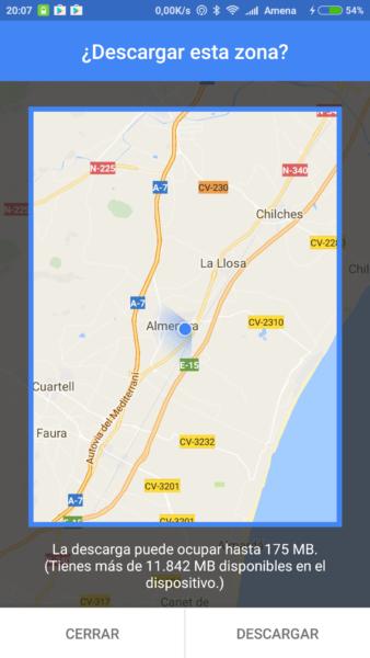 descargar zona desde Google Maps