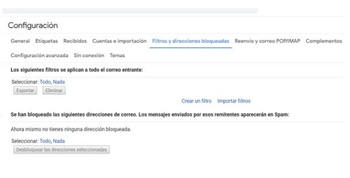 Lista negra Gmail