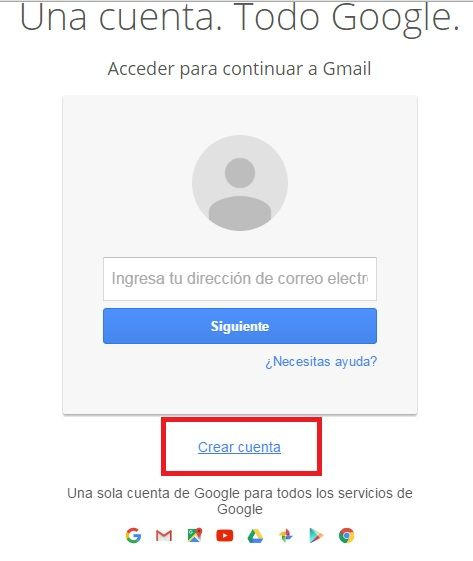 Crear una cuenta de correo electrónico Gmail