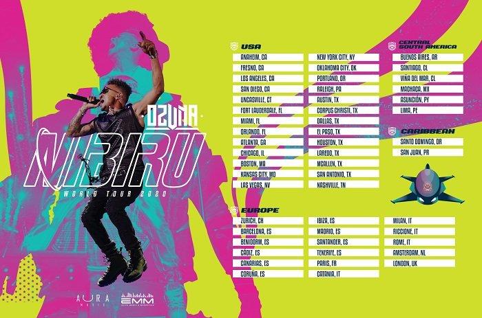 Listado de países y fechas de conciertos Nibiru de Ozuna
