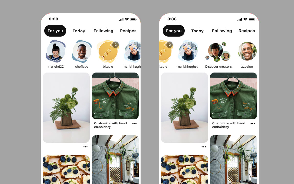 Pinterest muestra carrusel de historia al estilo de Instagram